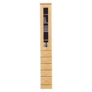 スリムボード(リビングボード/食器棚/収納棚) 【引き出しタイプ/幅25cm】 木製(天然木)/ガラス扉 日本製 ナチュラル 【Face3】フェース3 【完成品 開梱設置】 - 拡大画像