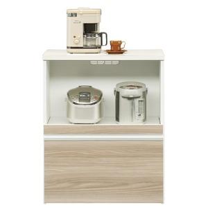 キッチンカウンター幅75cm二口コンセント/スライドテーブル/引き出し付き日本製ブラウン【完成品】