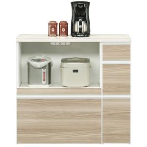 キッチンカウンター幅100cm二口コンセント/スライドテーブル/引き出し付き日本製ブラウン【完成品】