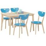 ダイニングセット 5点【ダイニングテーブル(ナチュラル天板)幅120cm&チェア4点(ブルー)セット】 木製 【COPAIN】コパン