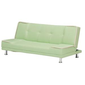 ソファーベッド 【シングルサイズ】 PVCレザー(合皮) グリーン(緑) 【完成品】