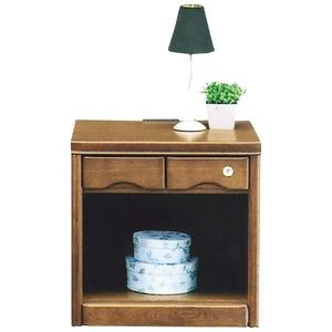 オープンナイトテーブル(サイドテーブル) 【幅50cm】 木製(天然木) コンセント付き/鍵付き ブラウン 【完成品 開梱設置】