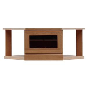 2段コーナー家具/リビングボード 【幅75cm】 木製(天然木) 扉収納付き 日本製 ブラウン 【完成品】
