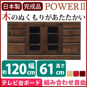 4段ローボード/テレビ台 【幅120cm:37型〜52型対応】 木製 扉収納付き 日本製 ダークブラウン 【完成品】 の画像