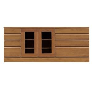 4段ローボード/テレビ台【幅150cm】木製扉収納付き日本製ブラウン【完成品】