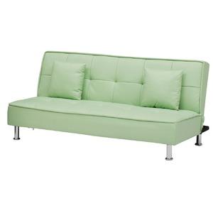ソファーベッド 【シングルサイズ】 PVCレザー(合皮) クッション2個付き グリーン(緑) 【完成品】【開梱設置】 - 拡大画像