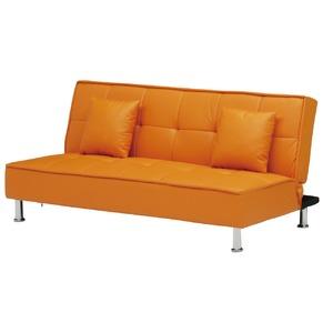 ソファーベッド 【シングルサイズ】 PVCレザー(合皮) クッション2個付き オレンジ 【完成品】【開梱設置】 - 拡大画像