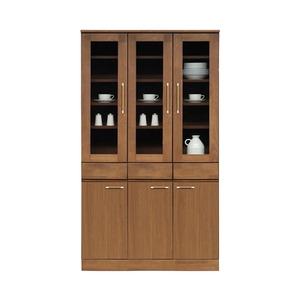 ダイニングボード(食器棚/キッチン収納) 【幅105cm】 木製 ガラス扉 日本製 ブラウン 【MORRIS】モーリス 【完成品】