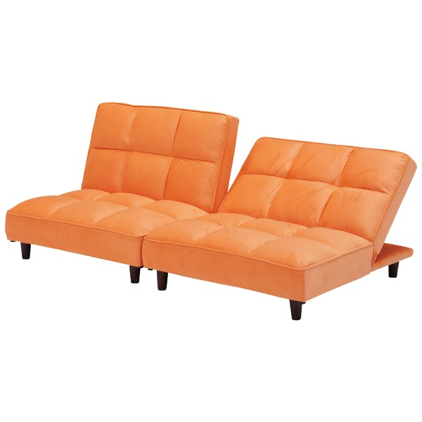 3WAYソファーベッド 【3人掛けソファ/1.5人掛けソファ×2/ベッド】 ファブリック(布製) オレンジ 【完成品】