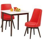 【組立設置費込】ダイニングセット 3点 ダイニングテーブル(ホワイト/白天板)&チェア(レッド/赤)2点 木製 【ROYCE】ロイズ 【組立品】
