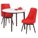ダイニングセット 3点 ラウンドダイニングテーブル(ホワイト/白天板)&チェア(レッド/赤)2点 木製 【ROYCE】ロイズ 【組立品】