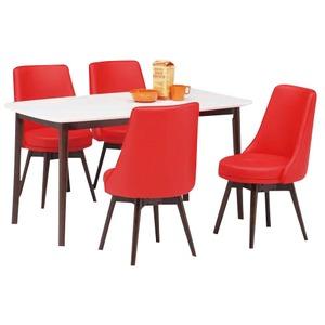 ダイニングセット 5点 ダイニングテーブル(ホワイト/白天板)&チェア(レッド/赤)4点 木製 【ROYCE】ロイズ 【組立品】 - 拡大画像