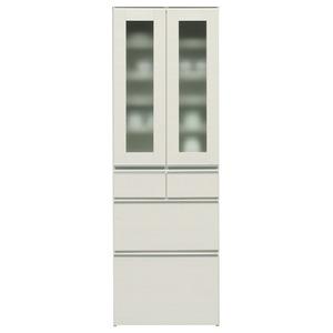 ダイニングボード(食器棚) 【ガラス扉】 幅60cm 上台扉耐震ラッチ付き 日本製 ホワイト(白) 【完成品】