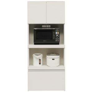 ハイレンジボード幅75cm二口コンセント/スライドテーブル付き日本製ホワイト(白)【完成品】