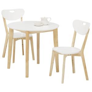 ダイニングセット 3点 【ラウンドダイニングテーブル(ホワイト天板)幅80cm&チェア2点(ホワイト/白)セット】 木製 【COPAIN】コパン