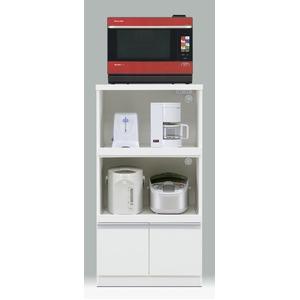 レンジ台/キッチン収納 【扉タイプ/幅60cm】 ホワイト 『フィットI型』 二口コンセント/スライドカウンター付き