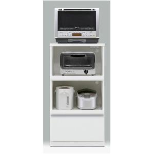 レンジ台/キッチン収納 【引き出しタイプ/幅60cm】 ホワイト 『フィットII型』 二口コンセント/スライドレール付き
