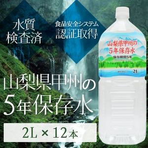 甲州の5年保存水 備蓄水 2L×12本(6本×2ケース) 非常災害備蓄用ミネラルウォーター