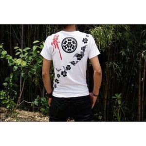戦国武将Tシャツ【長宗我部元親七つ方喰】XLサイズ半袖ホワイト(白)〔メンズ大きいサイズUネックおもしろ〕
