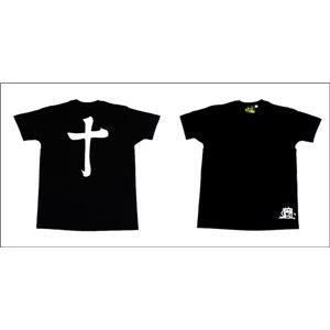 戦国武将Tシャツ【島津義弘十文字】XSサイズ半袖綿100%ブラック(黒)〔Uネックおもしろ〕