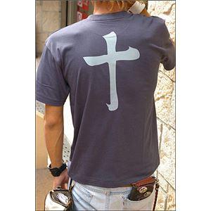 戦国武将Tシャツ【島津義弘十文字】XLサイズ半袖綿100%藍鉄〔メンズ大きいサイズUネックおもしろ〕