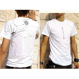 戦国武将Tシャツ【本多忠勝蜻蛉切】3Lサイズ半袖ホワイト(白)〔メンズ大きいサイズUネックおもしろ〕
