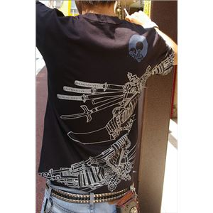 戦国武将Tシャツ【加藤清正】Mサイズ半袖綿100%ブラック(黒)〔Uネックおもしろ〕