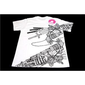 戦国武将Tシャツ【加藤清正】Lサイズ半袖綿100%ホワイト(白)〔Uネックおもしろ〕
