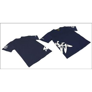 戦国武将Tシャツ【直江兼続義】Lサイズ半袖綿100%ネイビー(紺)〔Uネックおもしろ〕