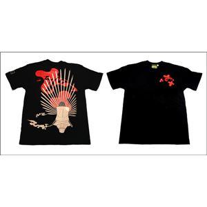 戦国武将Tシャツ【豊臣秀吉馬蘭後立付兜】XLサイズ半袖ブラック(黒)〔メンズ大きいサイズUネックおもしろ〕