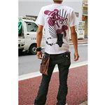 戦国武将Tシャツ 【豊臣秀吉 馬蘭後立付兜】 Mサイズ 半袖 綿100% ホワイト(白) 〔Uネック おもしろ〕