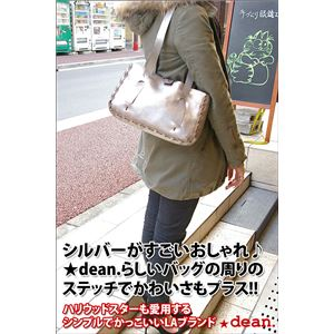 ★dean(ディーン) small whip stitched tote トートバッグ シルバー h01