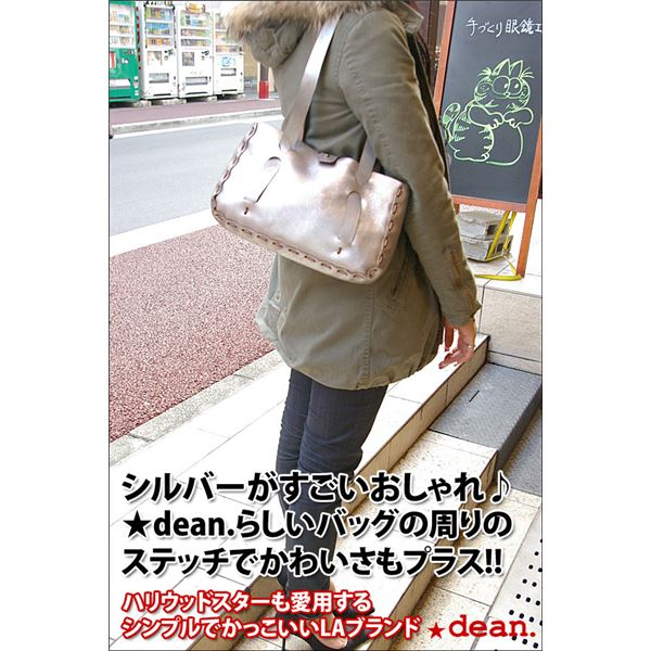 ★dean(ディーン) small whip stitched tote トートバッグ シルバーf00