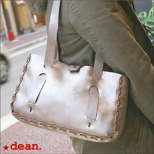★dean(ディーン) small whip stitched tote トートバッグ シルバー h02