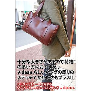 ★dean(ディーン) small whip stitched tote トートバッグ tan(赤茶)の画像