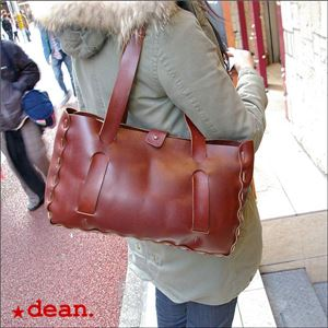 ★dean(ディーン) small whip stitched tote トートバッグ tan(赤茶) h02