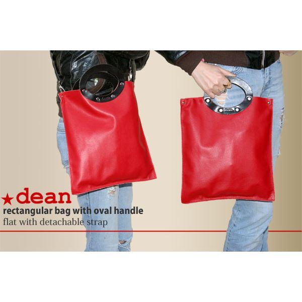★dean(ディーン) rectangular bag ハンドバッグ 赤f00