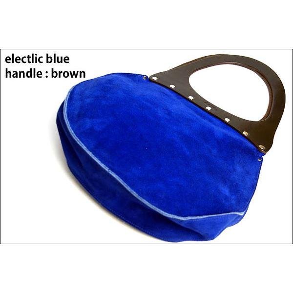 ★dean(ディーン) round machine ハンドバッグ elctlic blue(青) ハンドル/茶f00