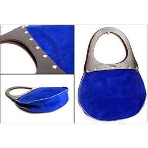★dean(ディーン) round machine ハンドバッグ elctlic blue(青) ハンドル/茶 h02
