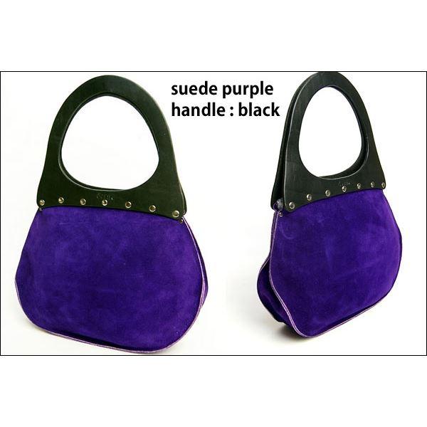 ★dean(ディーン) round machine ハンドバッグ 紫 ハンドル/黒f00
