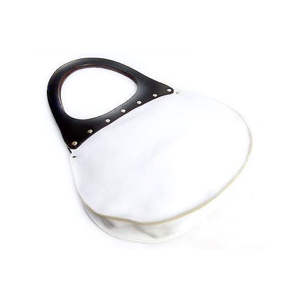 ★dean(ディーン) round machine ハンドバッグ 白 ハンドル/茶f00