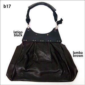 ★dean(ディーン) pleated bag レザーショルダーバッグ 黒 ハンドル/黒の画像