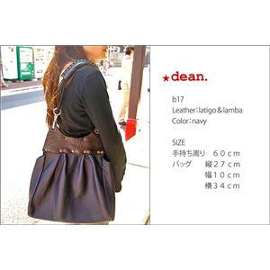 ★dean(ディーン) pleated bag レザーショルダーバッグ 茶 ハンドル/茶の画像
