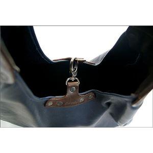 ★dean(ディーン) bell-bottom 'hobo' レザーバッグ ネイビー ハンドル/茶