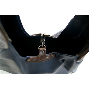 ★dean(ディーン) bell-bottom 'hobo' レザーバッグ ネイビー ハンドル/茶 f05