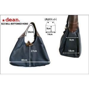 ★dean(ディーン) bell-bottom 'hobo' レザーバッグ ネイビー ハンドル/茶 f06
