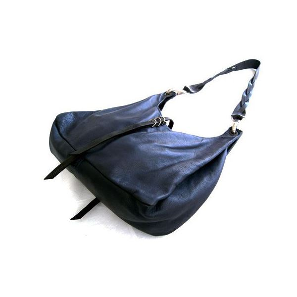 ★dean(ディーン) the braided-strap shoulder bag レザーバッグ ネイビー ハンドル/黒f00