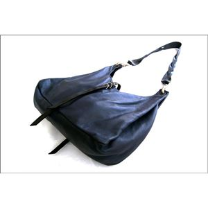 ★dean(ディーン) the braided-strap shoulder bag レザーバッグ ネイビー ハンドル/黒 h02
