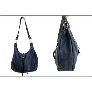 ★dean(ディーン) the braided-strap shoulder bag レザーバッグ ネイビー ハンドル/黒 h03