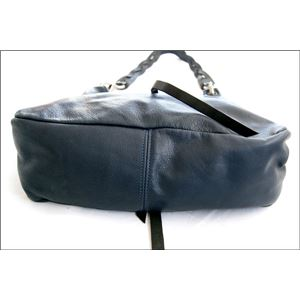 ★dean(ディーン) the braided-strap shoulder bag レザーバッグ ネイビー ハンドル/黒 f05